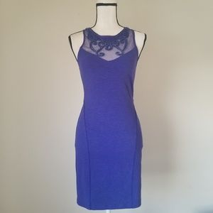 Free People Beaded Bodycon blue Mini Dress Sz S
